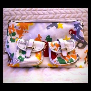 Large White and Colorful Dooney and Bourke Bag!